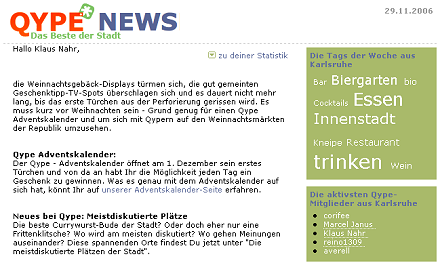 Qype-Newsletter vom 29.11.2006