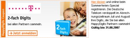 2-fach Digits - Telekom verdoppelt alle Happy Digits