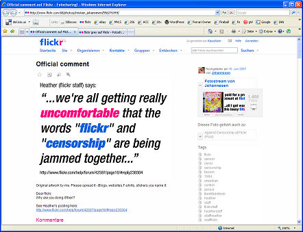 flickr Zensur Censorship Heather