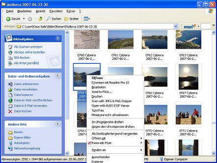 KUSO EXIF Viewer - Explorer Context Menü