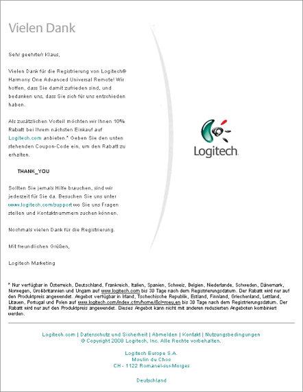 Bestätigungs-eMail für Logitech Harmony One 100% Geld zurück Garantie